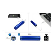 PORTABLE USB POWER BANK 2600mAh JEWELBLUE, INCL. USB CABLE