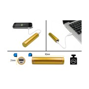 PORTABLE USB POWER BANK 2600mAh GOLD, INCL. USB CABLE