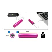 PORTABLE USB POWER BANK 2600mAh PINK, INCL. USB CABLE