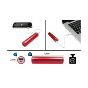 PORTABLE USB POWER BANK 2600mAh RED, INCL. USB CABLE